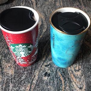 Set of 2 Christmas Starbucks tumblers